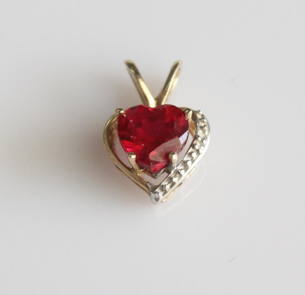 14K Yellow Gold Ruby and Diamond Heart Pendant