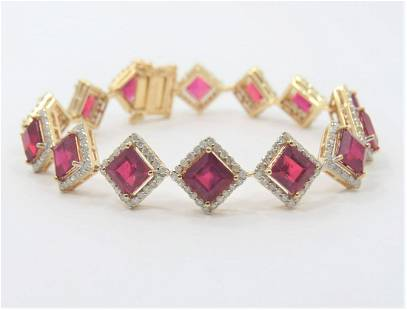 Certified and Appraised 14K Gold Ruby Bracelet