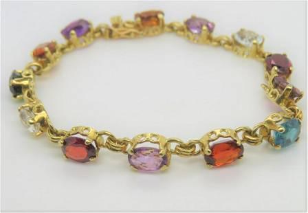 18K Yellow Gold Multi Precious Stone Bracelet