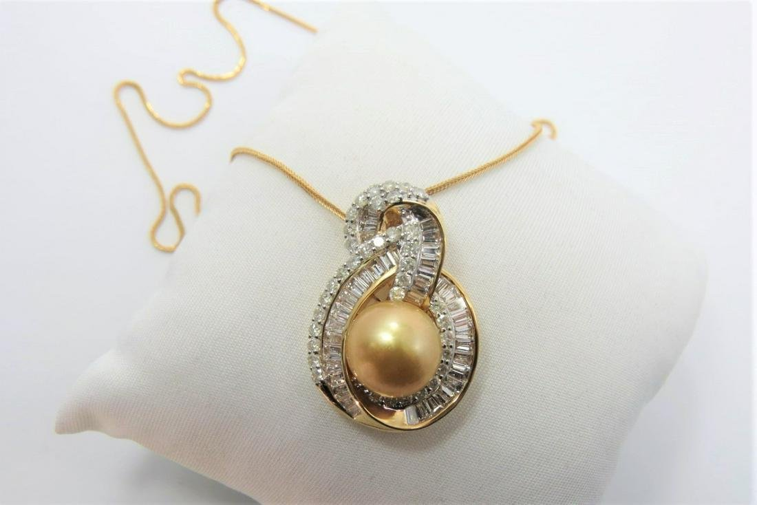 Certified and Appraised Pearl and Diamond Pendant