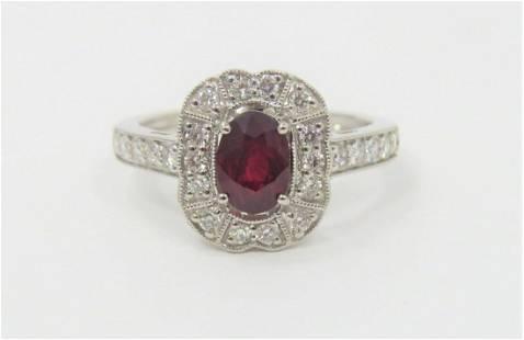Certified Appraised RARE Unheated Ruby DiamondRing