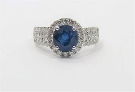 Certified Appraised Platinum Sapphire Diamond Ring