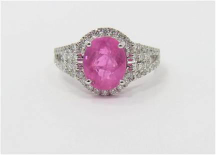 Certified and Appraised Pink Sapphire Diamond Ring
