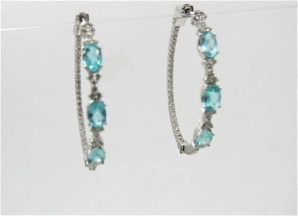 14K White Gold Apatite and Diamond Hoop Earrings