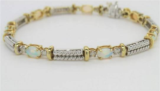 14K Two Tone Gold Opal and Diamond Bracelet