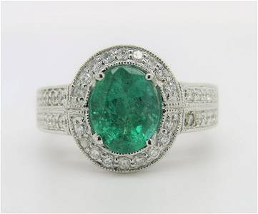 Certified Appraised 14K Gold Emerald Diamond Ring