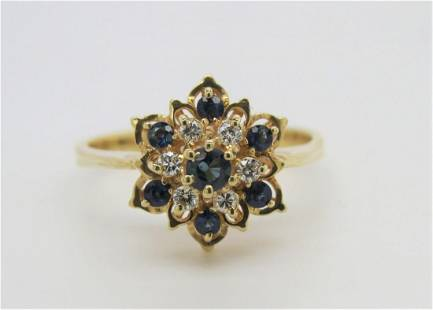 14K Yellow Gold Sapphire and Diamond Floral Ring