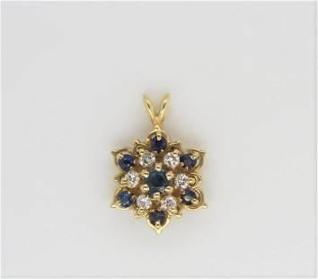 14K Yellow Gold Sapphire Diamond Floral Pendant