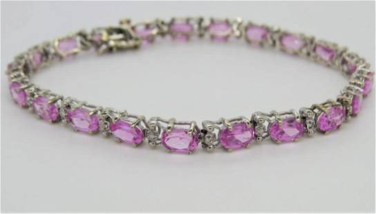 10K White Gold Pink Sapphire Diamond Bracelet