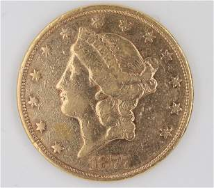1877 S $20.00 Gold Liberty Double Eagle F/VF