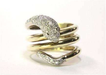 18KT Yellow Gold Diamond Snake Ring