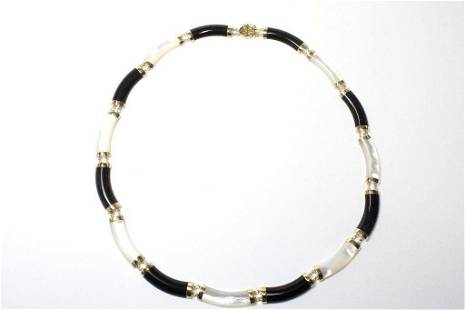 14K Yellow Gold Onyx and Mother of Pearl Necklace