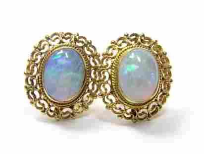 14K Yellow Gold Opal Filigree Earrings