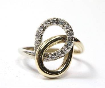 14K Two Tone Diamond Swirl Ring