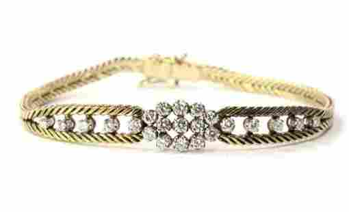 14K Yellow Gold Foxtail Diamond Bracelet