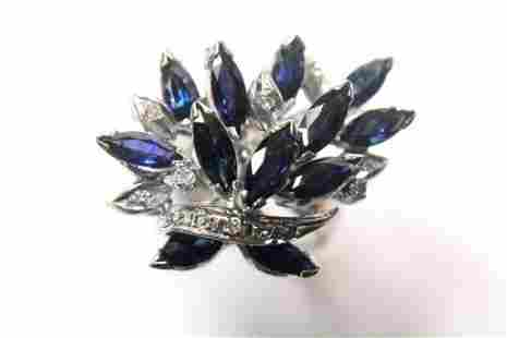 18K Sapphire and Diamond Cluster Ring