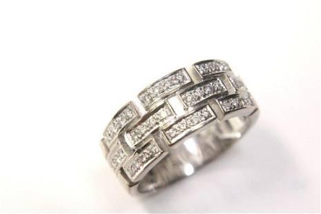 14K White Gold Pave Diamond Bric-A-Brac Ring