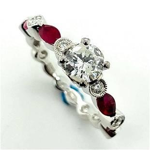 Certified 18K White Gold Diamond & Ruby Ring