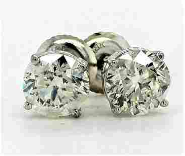 Certified 18K White Gold 2.00 CT Diamond Earrings