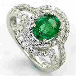 Certified Platinum Diamond Halo Emerald Ring