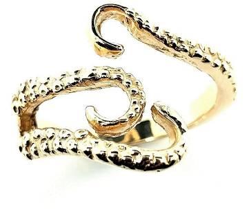 14K Yellow Gold Custom-Made Octopus Tentacle Ring