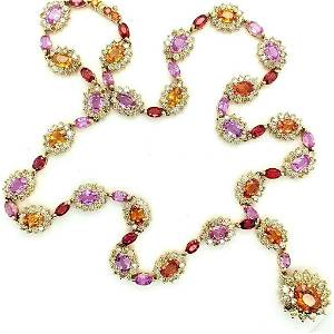 Certified 18K YG Multi-Colored Sapphire Necklace