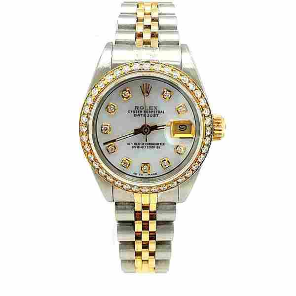 Ladies Genuine 2T Rolex Datejust Diamond Dial and Bezel