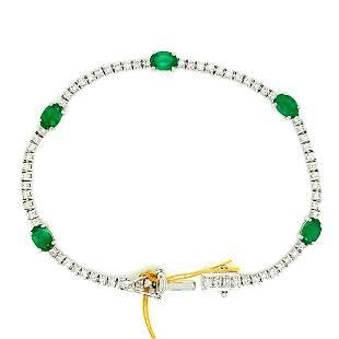 Certified 18K WG Emerald & Diamond Bracelet