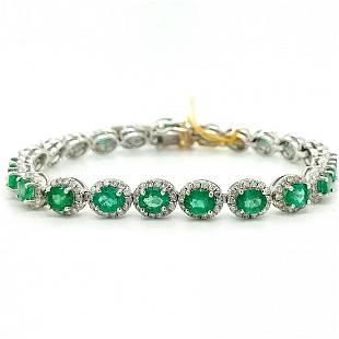 Certified Platinum Emerald & Diamond Bracelet