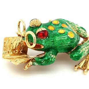 18K YG Frog Reading Book Brooch