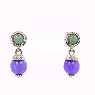 Signed Judith Ripka Sterling Silver Drop Earrings