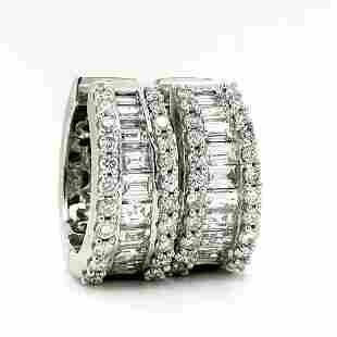 14K White Gold Round & Baguette Diamond Hoops