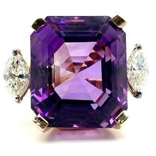 14K YG Amethyst and Marquise Diamond Ring
