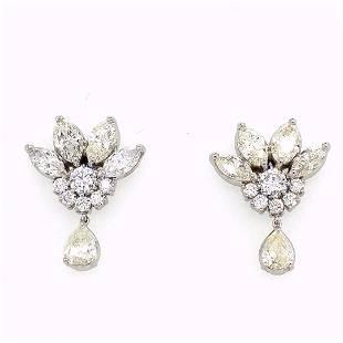 18K WG Marquise, Round, & Pear Diamond Earrings