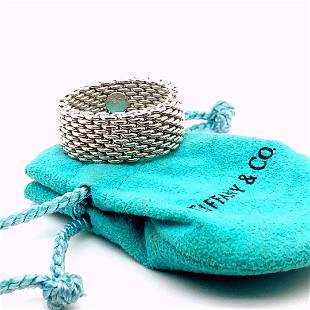 Signed T&Co Sterling Silver Somerset Mesh Ring