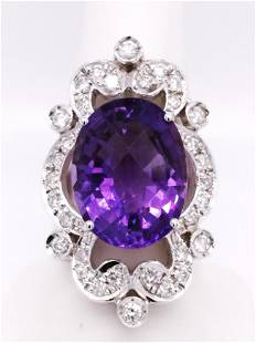 Certified 14K Diamond and Amethyst Ring