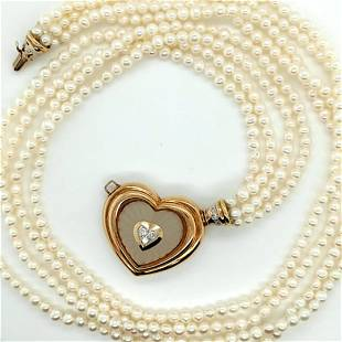 Seed Pearl and Camphor Glass Necklace