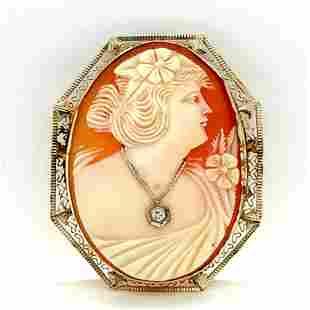 14K Vintage Cameo Brooch/Pendant with Diamond