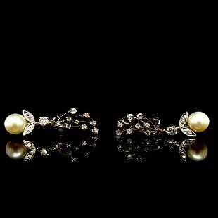 14K WG Pearl and Diamond Drop Earrings