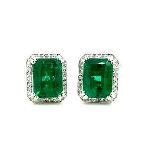Certified Platinum Emerald and Diamond Earrings