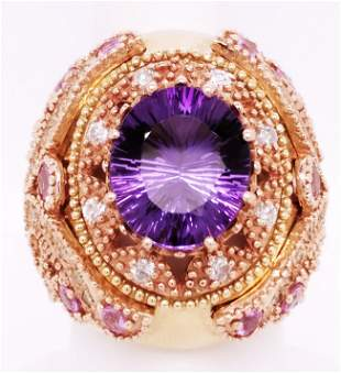 Certified 14K YG Diamond and Amethyst Ring