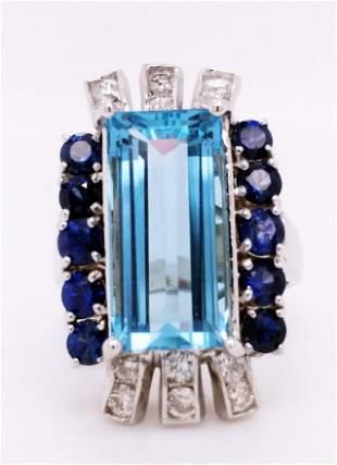 Certified 14K WG Aquamarine & Sapphire Ring