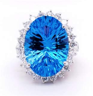 Certified 14K Blue Topaz and Diamond Ring