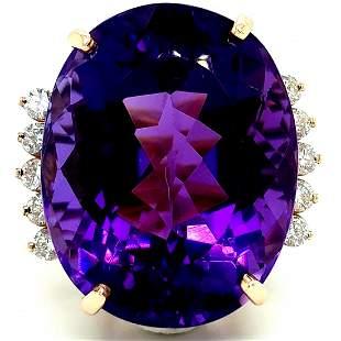 14K Yellow Gold Amethyst &Diamond Ring