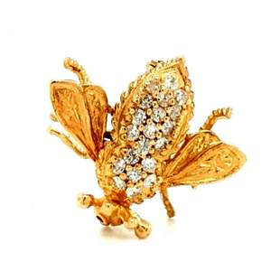 18K YG Diamond Baby Bee Brooch