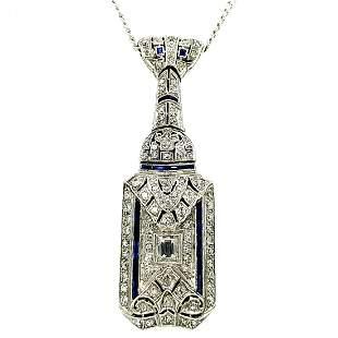Platinum, 14K WG, Dia & Sapphire Necklace