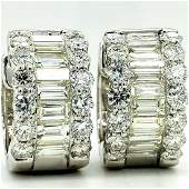 14K WG Baguette & Round Diamond Earrings