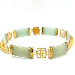 14K Yellow Gold Jade Bracelet