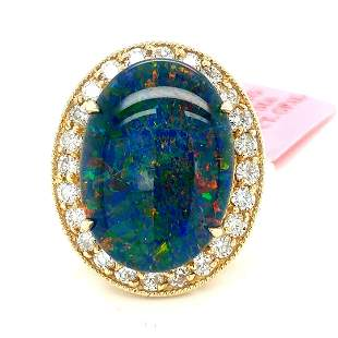 Certified 14K YG Diamond and Opal Ring