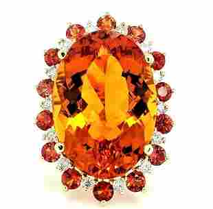 Certified 14K YG Citrine & Orange Sapphire Ring